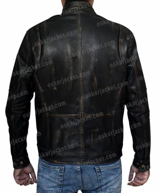 Mens Cafe Racer Brown Leather Biker Jacket Back