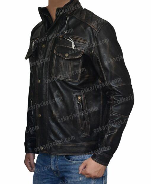 Mens Cafe Racer Brown Leather Biker Jacket Left