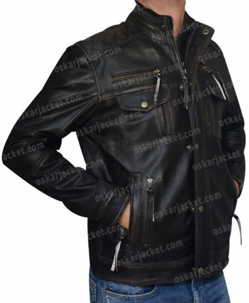Mens Cafe Racer Brown Leather Biker Jacket Right