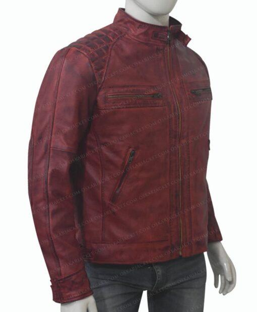 Men's Cafe Racer Distressed Maroon Leather Jacket left Side