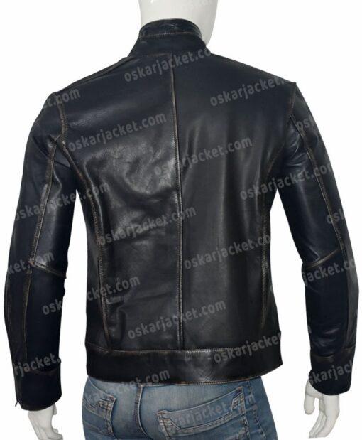 Mens Distressed Black Cafe Racer Jacket Back