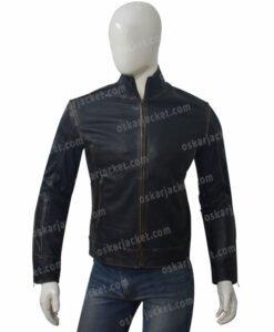 Mens Distressed Black Cafe Racer Jacket Front