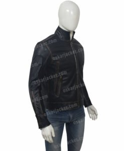 Mens Distressed Black Cafe Racer Jacket Right
