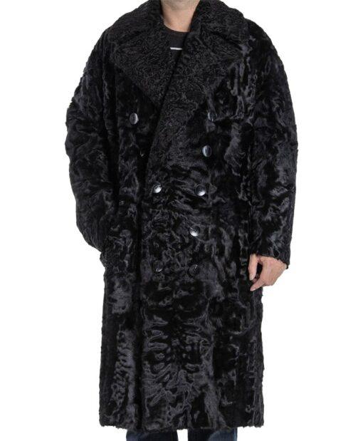 Men's Karakul Lamb Fur Trench Coat