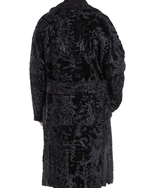 Men's Karakul Lamb Fur Trench Coat Back