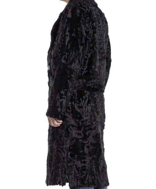 Men's Karakul Lamb Fur Trench Coat Left