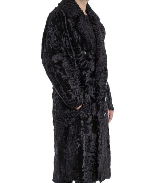 Men's Karakul Lamb Fur Trench Coat Right