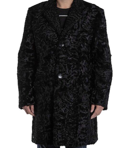 Men's Persian Lamb Fur Astrakhan Black Coat