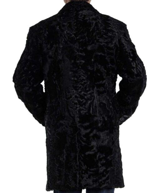 Men's Persian Lamb Fur Astrakhan Black Coat Back