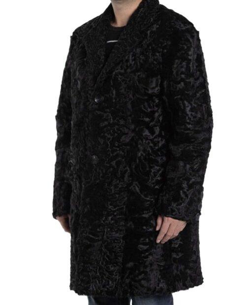 Men's Persian Lamb Fur Astrakhan Black Coat Right