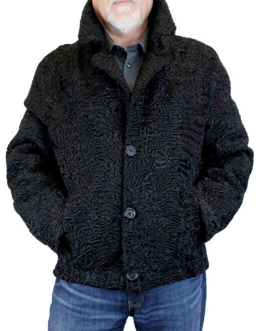 Men's Persian Lamb Fur Bomber Jacket Front