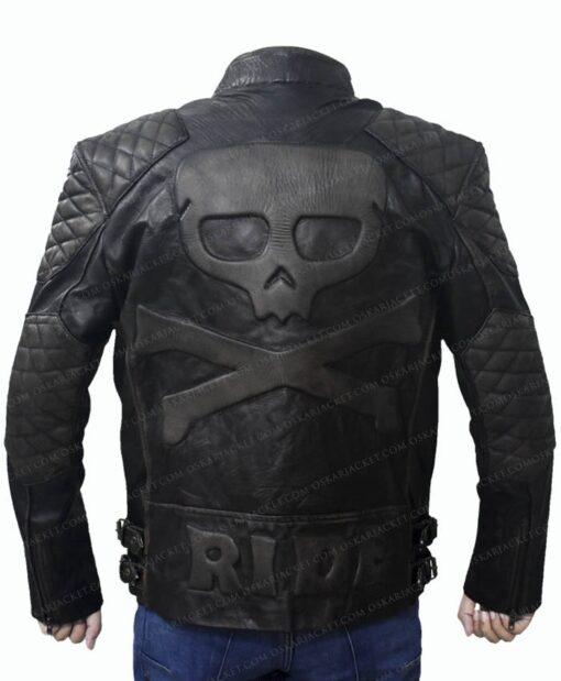 Men's Skull Embossed Crossbones Motorcycle Jacket Back