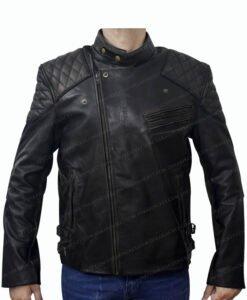 Men's Skull Embossed Crossbones Motorcycle Jacket Front