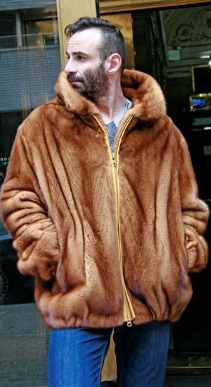 Men's Stylish Brown Mink Fur Bomber Jacket