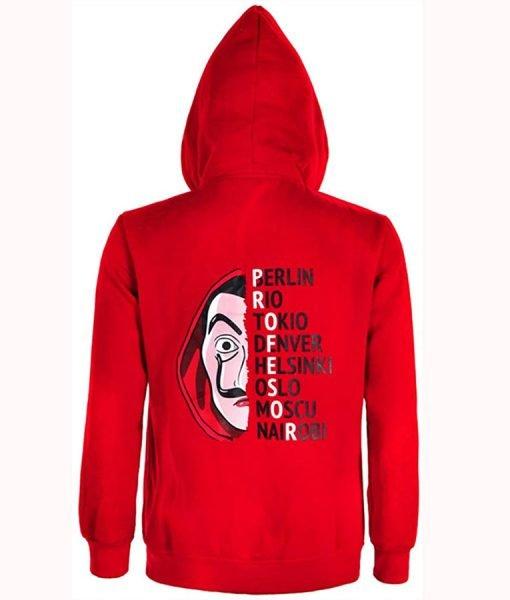 Money Heist Red Fleece Hoodie Back