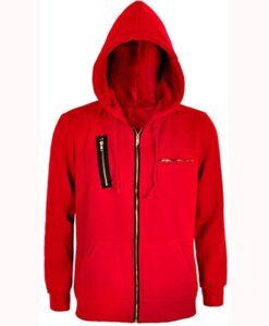 Money Heist Red Fleece Hoodie Front