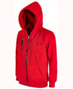Money Heist Red Fleece Hoodie Side