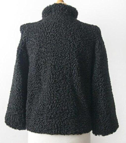 Persian Black Lamb Fur Coat Back