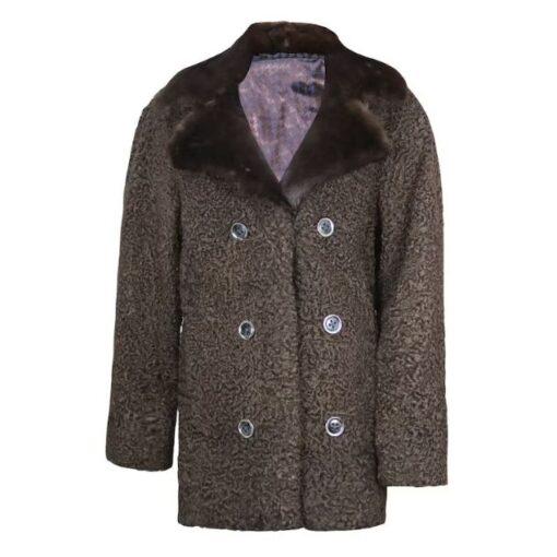 Persian Lamb Fur Brown Coat Front