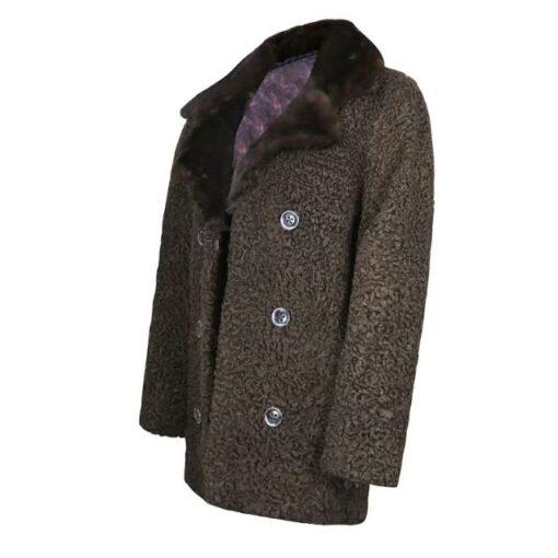 Persian Lamb Fur Brown Coat Left Side