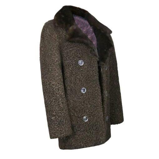 Persian Lamb Fur Brown Coat Side Image
