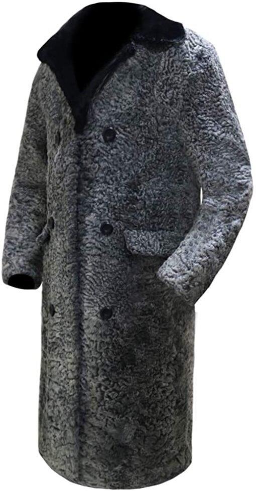 Persian Lamb Fur Coat With Mink Collar