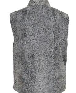 Persian Lamb Grey Fur Vest Back