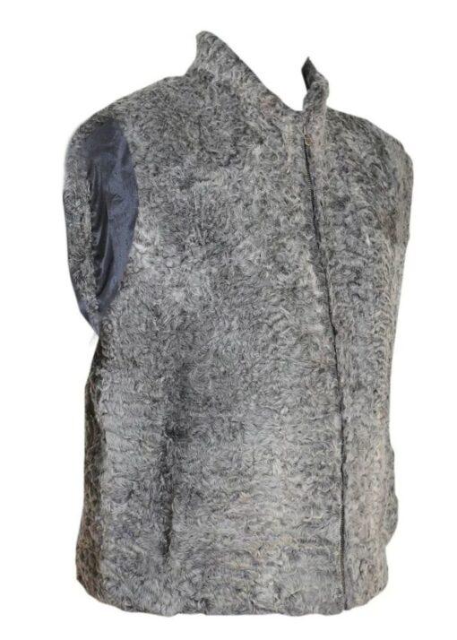 Persian Lamb Grey Fur Vest Right Side View
