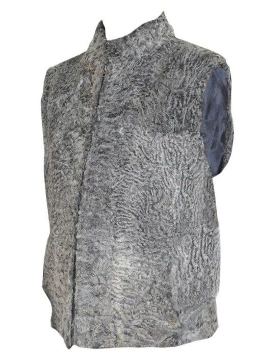 Persian Lamb Grey Fur Vest Side View