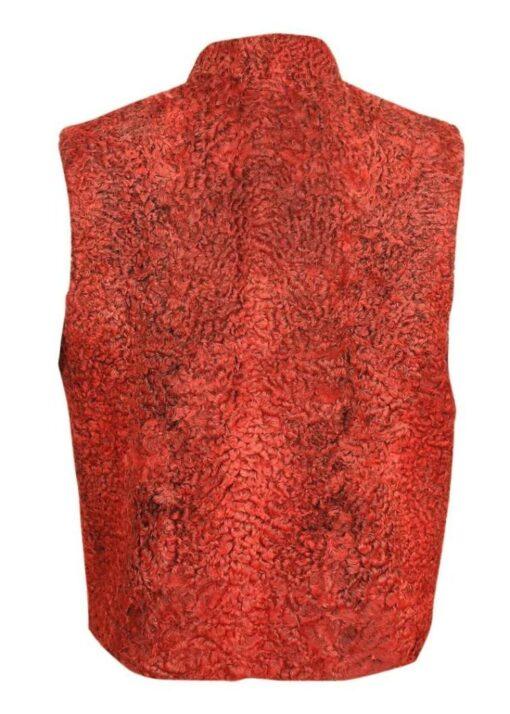Persian Lamb Sawarka Red Fur Waistcoat Back