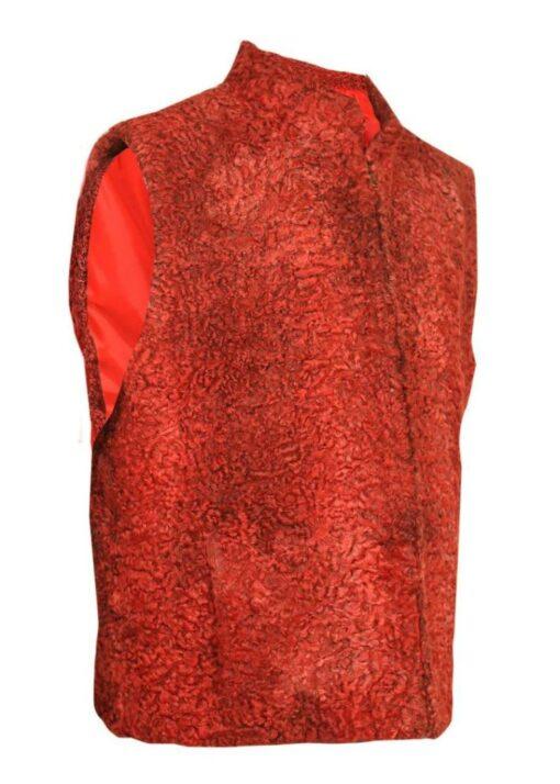 Persian Lamb Sawarka Red Fur Waistcoat Right Side