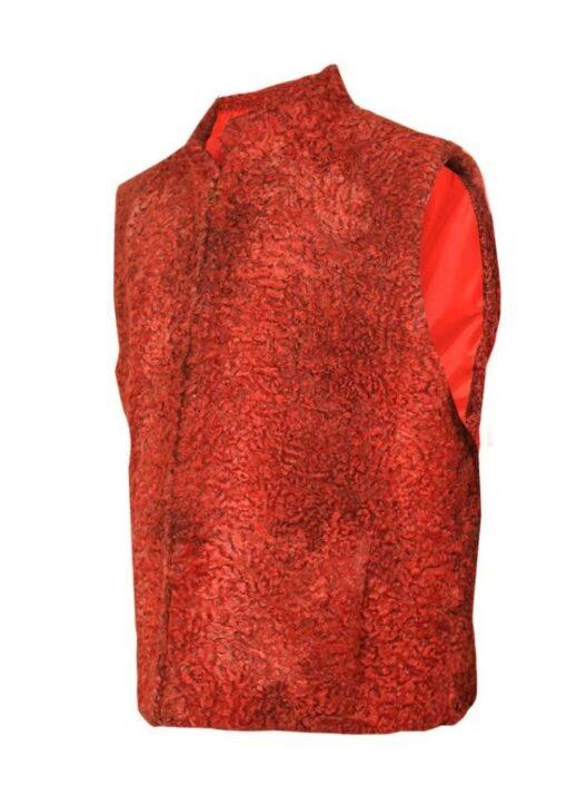 Persian Lamb Sawarka Red Fur Waistcoat Side