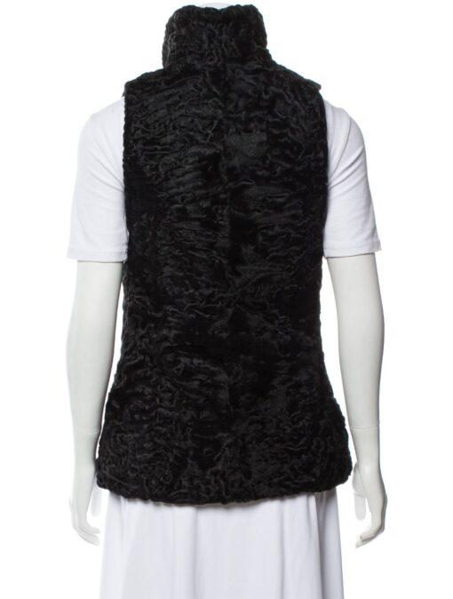 Persian Lamb Shawl Lapel Fur Waistcoat Back
