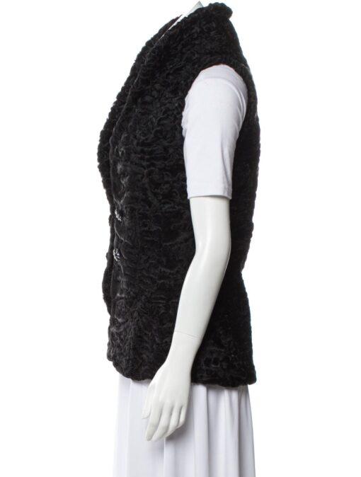 Persian Lamb Shawl Lapel Fur Waistcoat Side