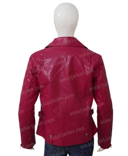 SexLife Billie Connelly Pink Biker Leather Jacket Back