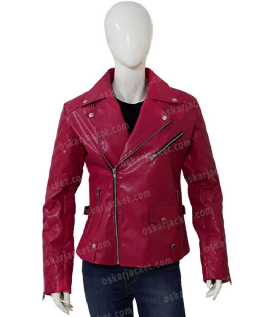 SexLife Billie Connelly Pink Biker Leather Jacket Front