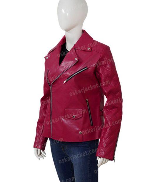 SexLife Billie Connelly Pink Biker Leather Jacket Side