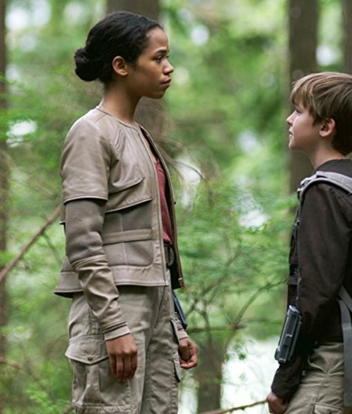 Taylor Russell Lost In Space White Leather Jacket