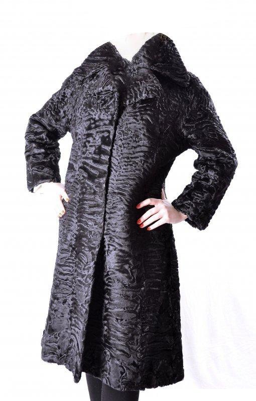 Womens Black Broadtail Persian Lamb Fur Coat