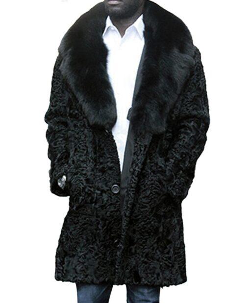 Mens Black Persian Lamb Fur Fox Fur Collar Coat