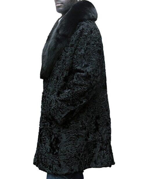 Mens Black Persian Lamb Fur Fox Fur Collar Coat Side