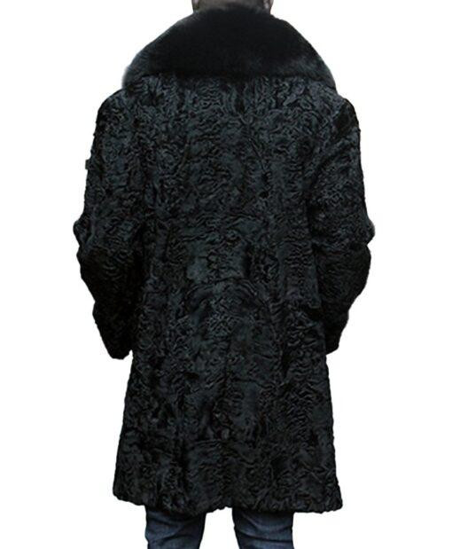 Mens Black Persian Lamb Fur Fox Fur Collar Coat Back