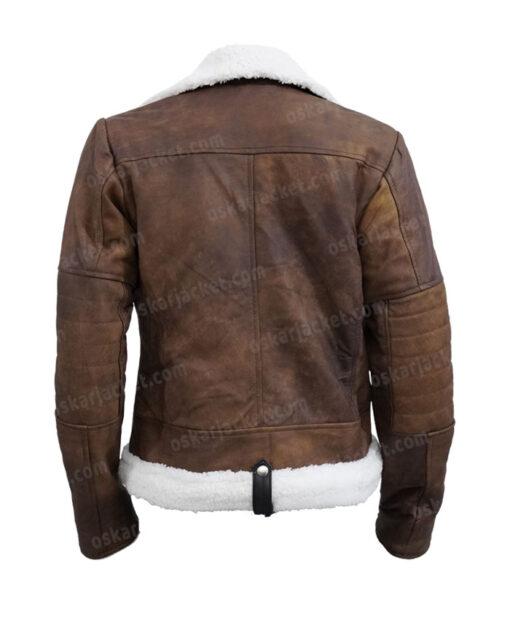 Virgin River Melinda Monroe Leather Brown Shearling Jacket Back