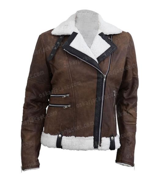 Virgin River Melinda Monroe Leather Brown Shearling Jacket Front