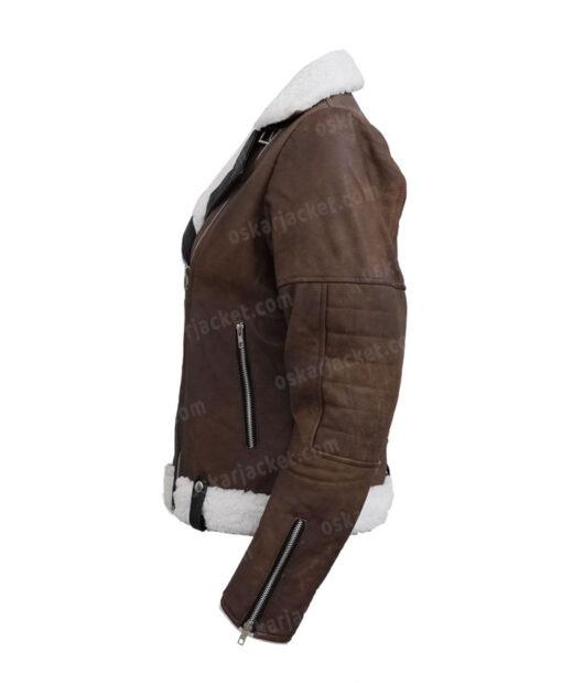 Virgin River Melinda Monroe Leather Brown Shearling Jacket LEft