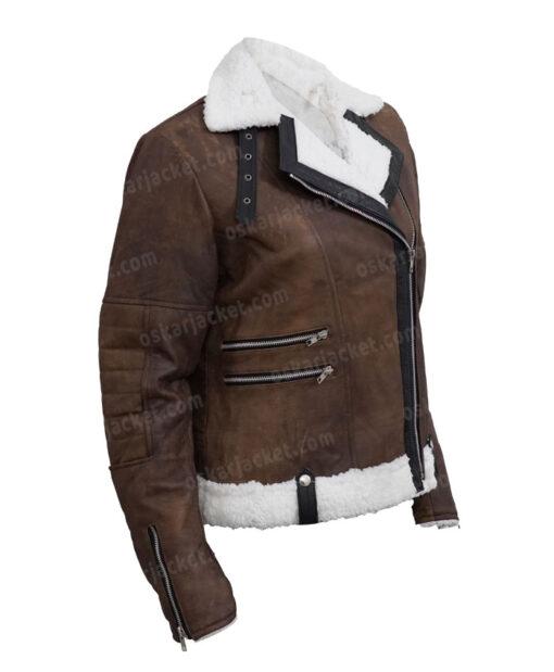 Virgin River Melinda Monroe Leather Brown Shearling Jacket Right
