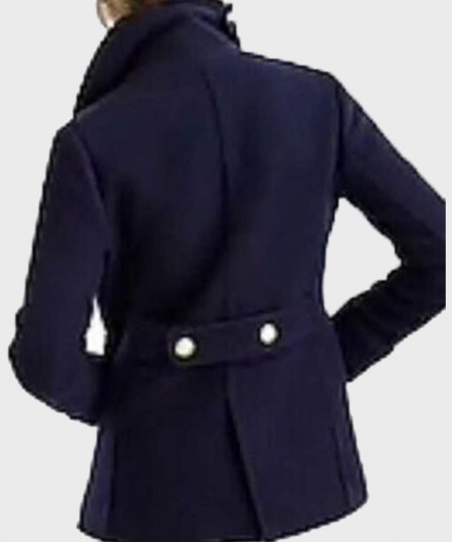 Virgin River Paige Lassiter Blue Double-Breasted Coat Back