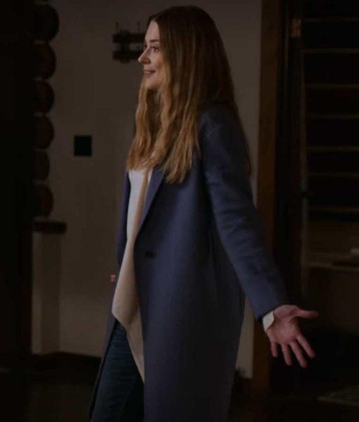 Virgin River S02 Melinda Monroe Blue Wool Coat Left