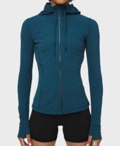 Virgin River Season 2 Melinda Monroe Blue Hooded Jacket Front
