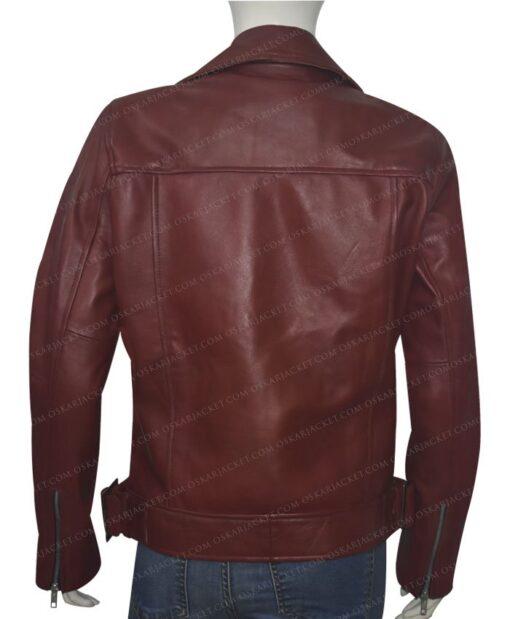 Women Biker Burgundy Genuine Leather Jacket Back